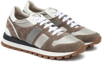 Brunello Cucinelli Suede-trimmed sneakers
