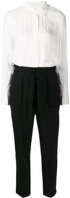 Equipment silk bell sleeve tie waist jumpsuit