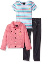 U.S. Polo Assn. Big Girls' Twill Jacket Striped T-Shirt and Stretch Denim Jean