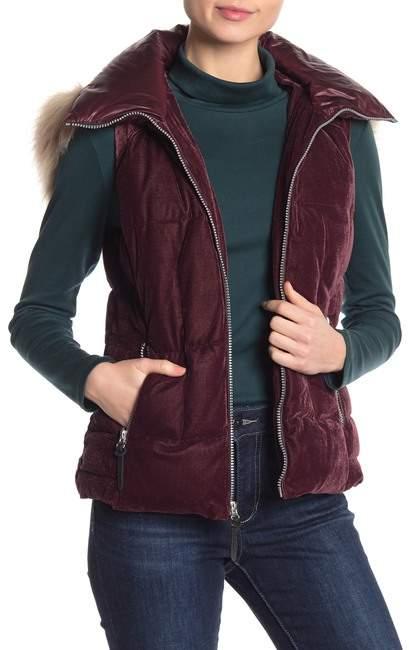 Andrew Marc Val Faux Fur Velvet Hooded Vest