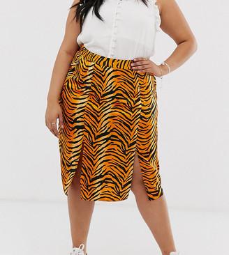 Influence Plus midi skirt in tiger print-Orange