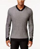 Alfani Men's Big and Tall V-Neck Waffle-Knit Sweater, Regular Fit