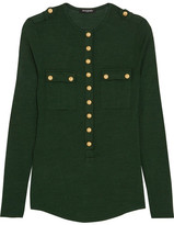 Balmain Button-detailed Wool And Silk-blend Jersey Top - Green