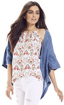New York & Co. Ruffle-Trim Keyhole Halter Blouse - Floral