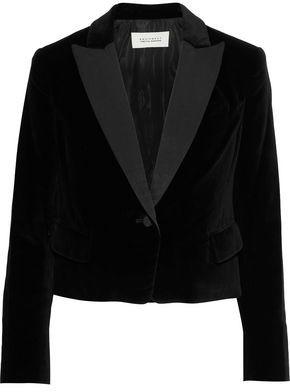 Equipment + Tabitha Simmons Bourlet Faille-trimmed Cotton-velvet Blazer