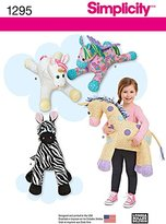 Simplicity 1295 Size OS Tuffed Zebra/Unicorn/Pegasus and Giraffe Sewing Pattern, Multi-Colour