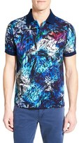 Bugatchi Men's Abstract Print Short Sleeve Polo