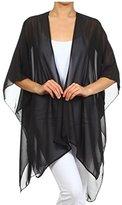 TC Solid Sheer Chiffon Kimono Cardigan in Black Color