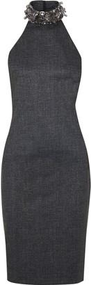 Badgley Mischka Embellished Melange Stretch-jersey Halterneck Dress