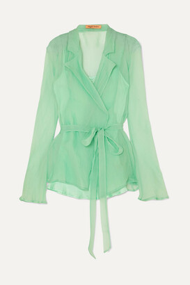 Maggie Marilyn + Net Sustain Silk-organza Wrap Shirt - Green