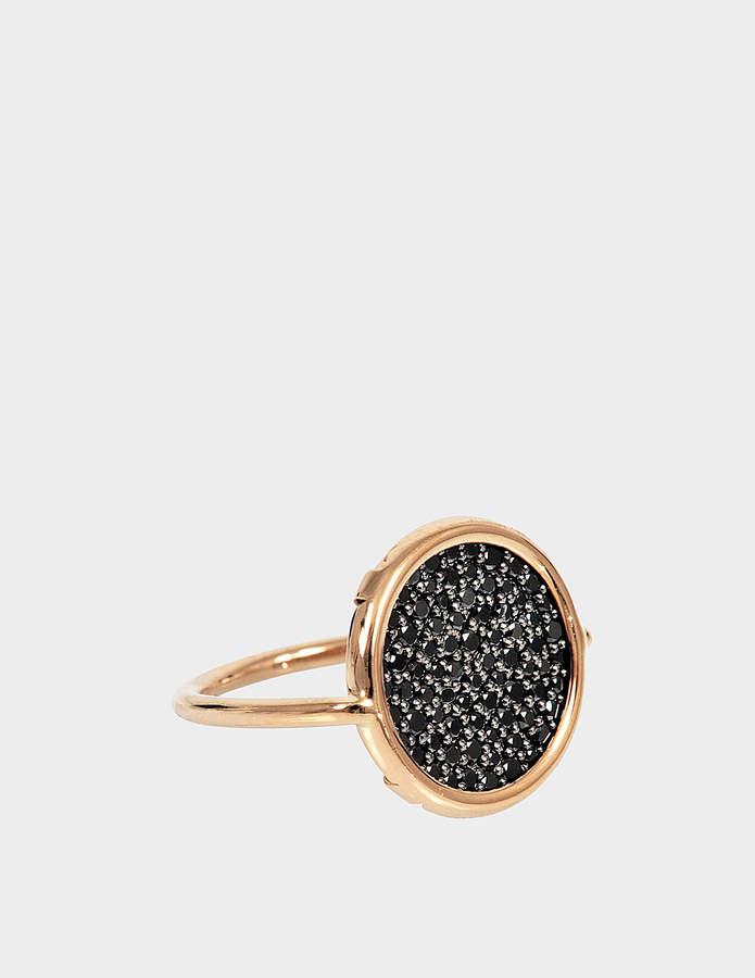 ginette_ny Black Diamond 18-karat rose gold Disc ring