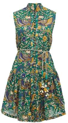 Zimmermann Edie Folk-print Cotton Mini Dress - Womens - Green Print