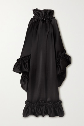 Balenciaga Open-back Ruffled Satin Gown - Black