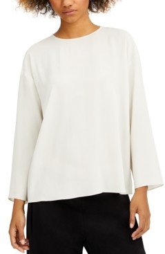 Eileen Fisher Round-Neck Silk Top, Regular & Petite
