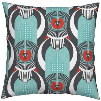 Roostery Art Deco Linen Abstract Dot Geometric Throw Pillow Cover Organic Satee