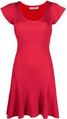 Twin-Set Short-Sleeved Ribbed Short Dress
