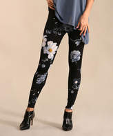 Lbisse Women's Leggings Black - Black & Cream Floral Leggings - Women & Plus