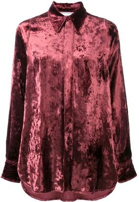 AMI Paris Crushed-Velvet Long-Sleeve Shirt