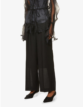 Rito Belted wide-leg high-rise wool-blend trousers