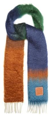 Loewe Striped Brushed Mohair-blend Scarf - Brown