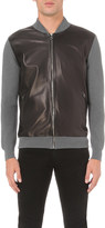 Salvatore Ferragamo Leather-front knitted bomber jacket
