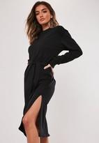 Missguided Black Tie Waist Midi Sweater Dress