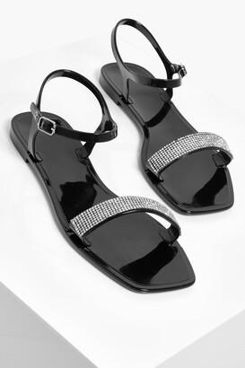 boohoo Diamante Strap Jelly Sandals