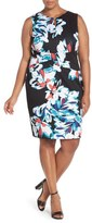 Ellen Tracy Crisscross Front Floral Sheath Dress (Plus Size)