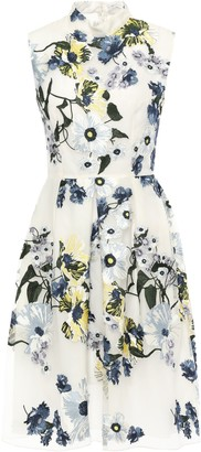 Erdem Pleated Embroidered Silk-organza Dress