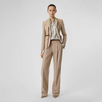 Burberry Leather Stripe Wool Tailored Trousers