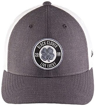 Black Clover Anniversary Patch 9 Hat (Woven Label Clover/Grey/White) Baseball Caps