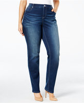 INC International Concepts Plus Size Slim-Tech Rose Wash Skinny Jeans, Only at Macy's