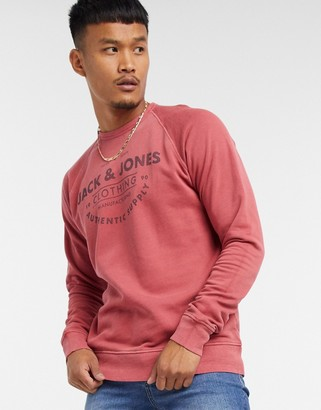 Jack and Jones logo sweatshirt in washed red