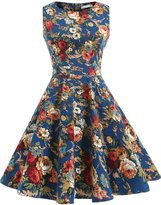 OTEN Women's Cocktail Party Sleeveless Floral 1950s Vintage Tea Dress