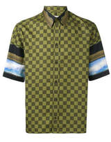 Givenchy Checked Panel Short Sleeve Shirt - Green - Size IT40