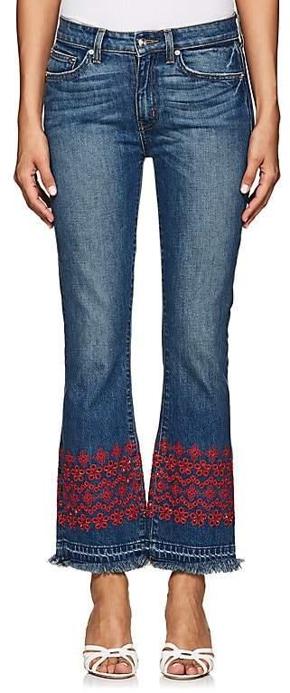 Derek Lam 10 Crosby Women's Jane Eyelet-Embroidered Crop Flared Jeans