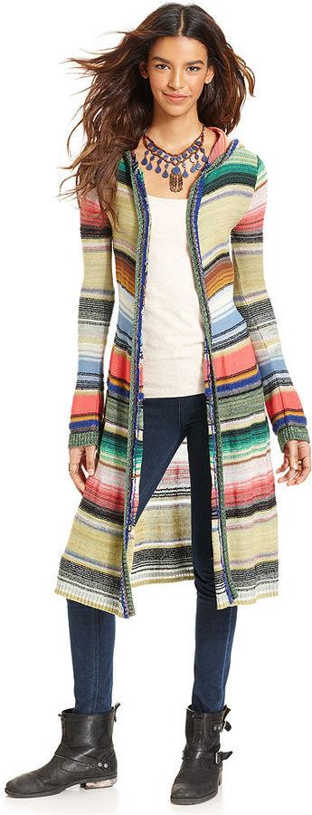 Free People Sweater, Long-Sleeve Hooded Striped Cardigan