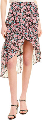 The Kooples Candy Floral Silk-Blend Skirt