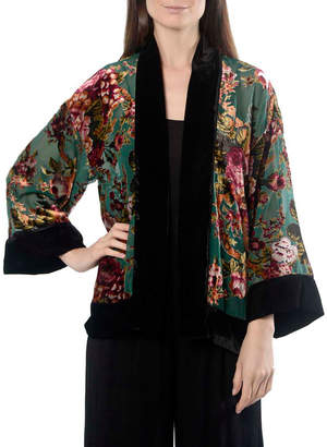 Anna Cai Floral Velvet Kimono Jacket