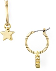 Aqua Helen Owen x Dangling Star Charm Hoop Earrings - 100% Exclusive
