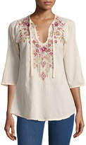 Johnny Was Fabio Embroidered Blouse, Blush