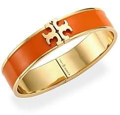 Tory Burch Kira Raised Logo Enamel Hinged Cuff Bracelet
