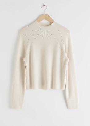 And other stories Mock Neck Ribbed Eyelet Sweater