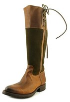 Lucchese Cowhide W/lace Up Women Round Toe Leather Brown Western Boot.