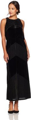 London Times Women's Petite Sleeveless Round Neck Velvet Maxi Dress