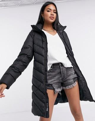 G Star G-Star Whistler slim hooded long puffer coat in black