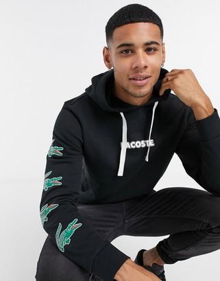 Lacoste croc sleeve detail hoodie in black
