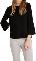 Phase Eight Farah Fluted Sleeve Top, Black