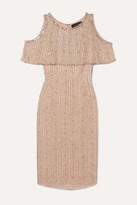 Jenny Packham Cold-shoulder Embellished Chiffon Dress - Gold
