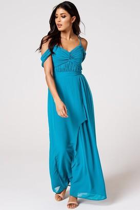 Rock N Roll Bride Cameo Blue Jewel Draped Maxi Dress